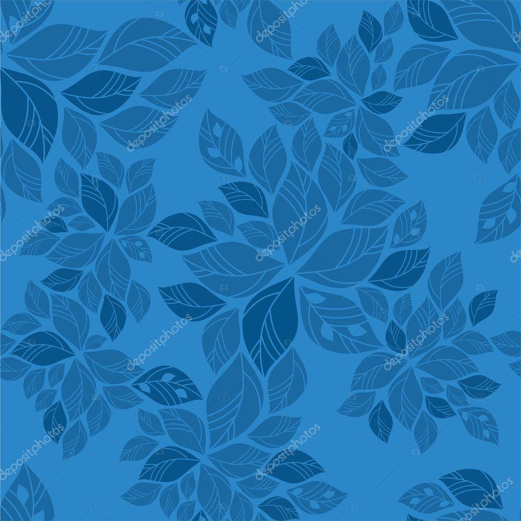 Seamless blue leaves pattern