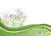 Fotografia albero in fiore in unillustrazione vettoriale del campo primavera