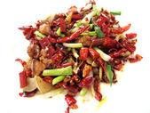 Kuřecí chilli a pepř s izolované na bílém