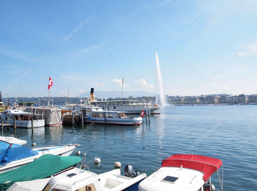 Port at Jet d'eau on Lake Geneva in Switzerland
