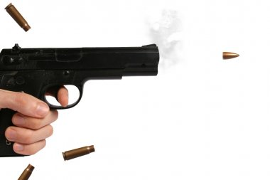 Gun and flying bullet