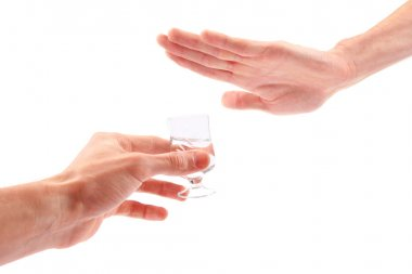 Hand reject a glass of alcohol
