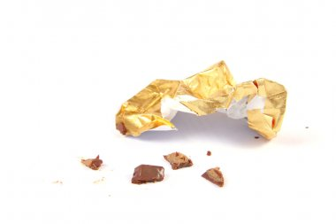 Crumbs and paper of chocolate candy