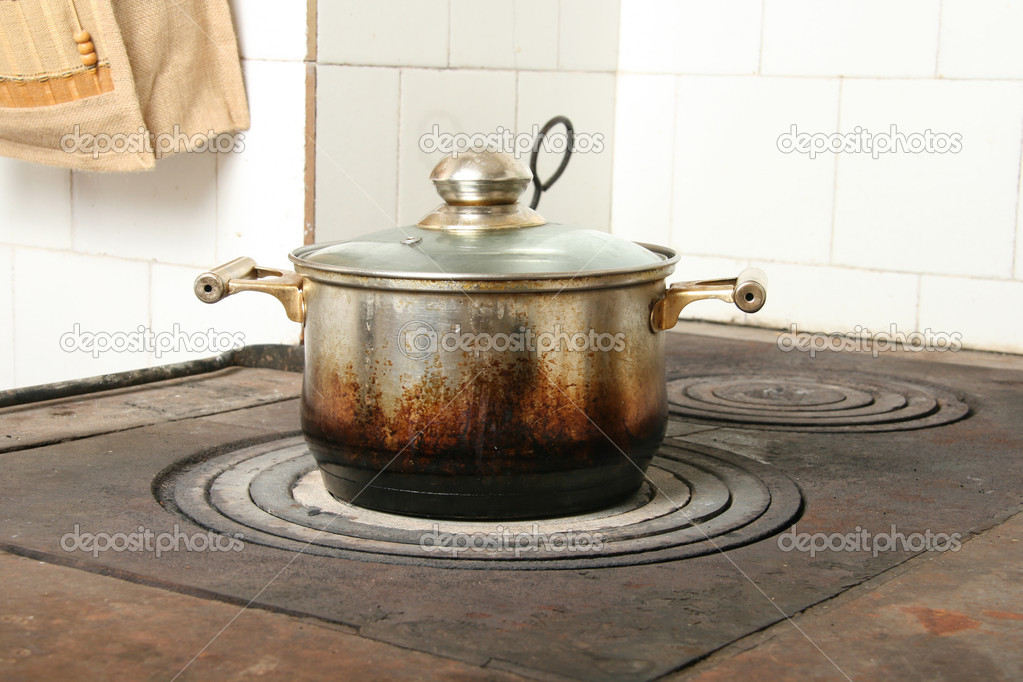 Cooking Pot On Old Kitchen Stove U2014 Photo By Ronstik