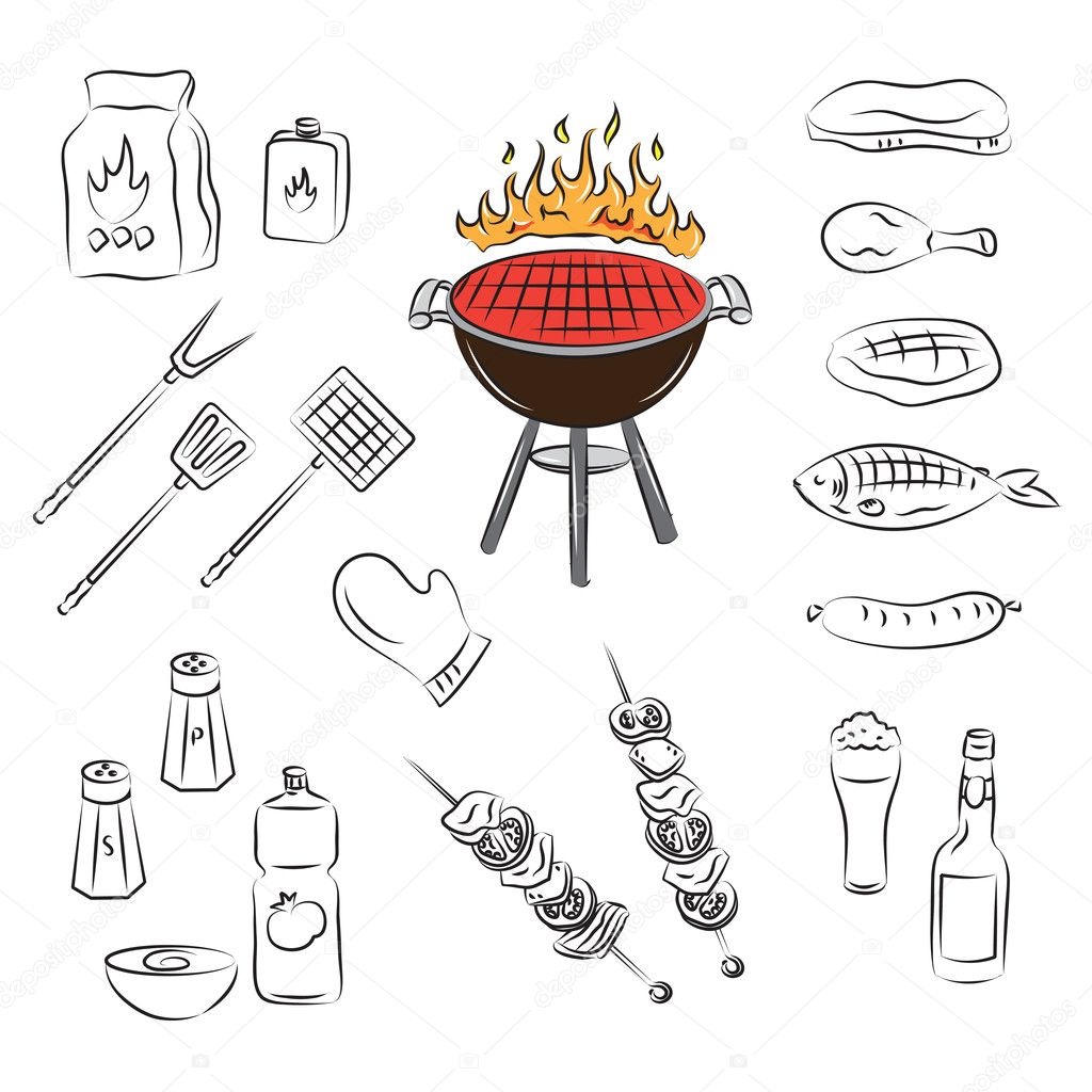 Vector barbecue party elements