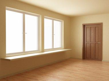 New room, with wooden door and floor, 3d illustration