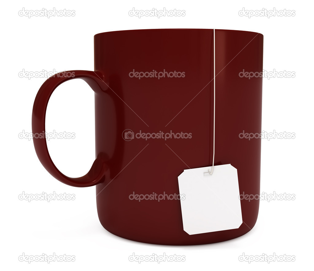Red mug with blank teabag label, isolated on white — Stock