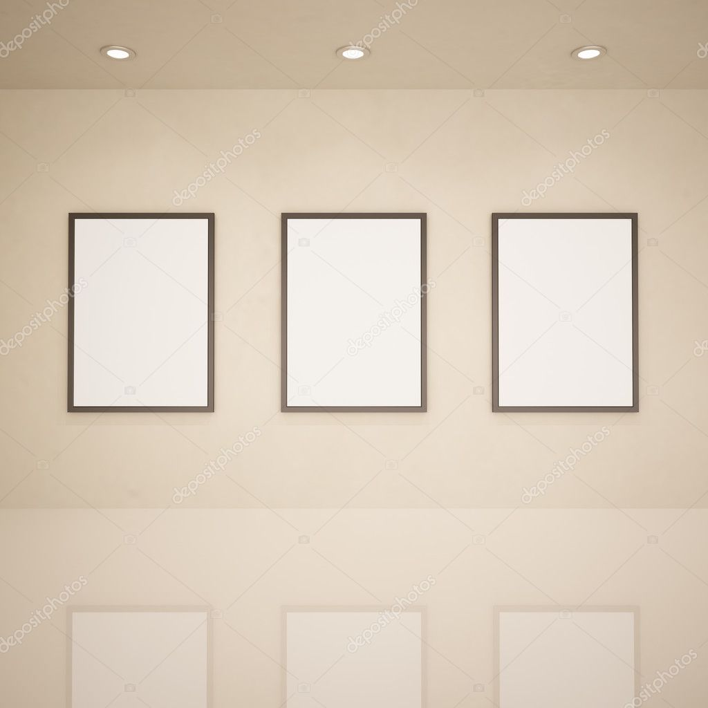 Blank frames in art gallery — Stock Photo © AxelWolf #4119750