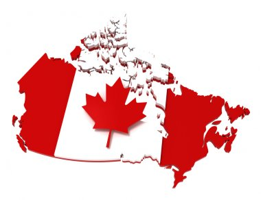 Canada, map with flag, clipping path
