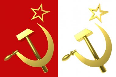 Star, hammer and sickle, symbols of USSR, with clipping paths