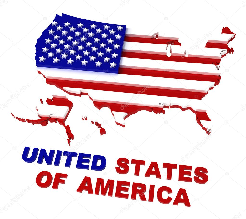 USA Map With Flag Clipping Path Included D Stock Photo - Us map logo