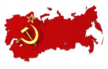 Soviet Union, USSR, map with flag, clipping path