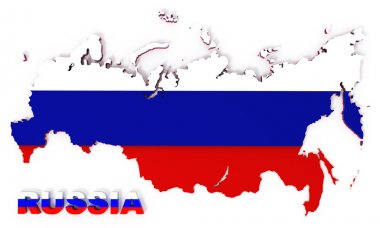Russia, map with flag, isolated on white, clipping path included