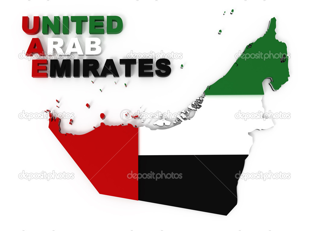 UAE United Arab Emirates map with flag clipping path included