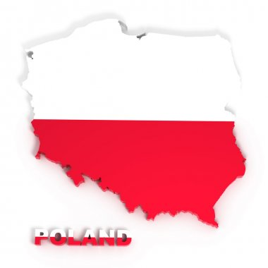 Poland, map with flag, isolated on white with clipping path