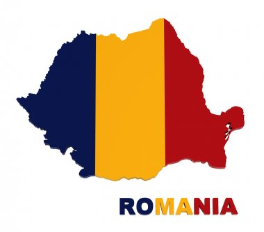 Romania, map with flag, isolated on white