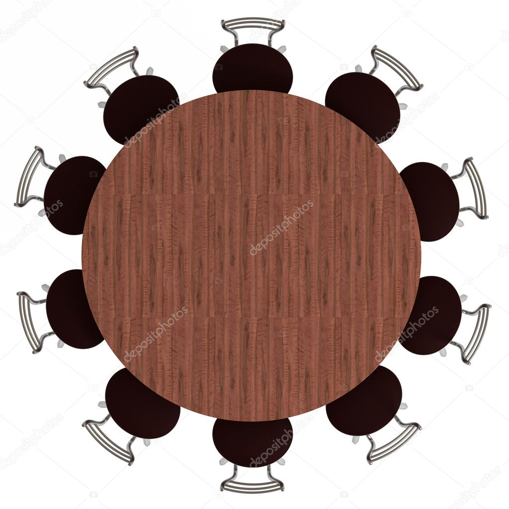 Round table and chairs, top view, isolated on white — Stock Photo ... for round table with chairs top view  45gtk