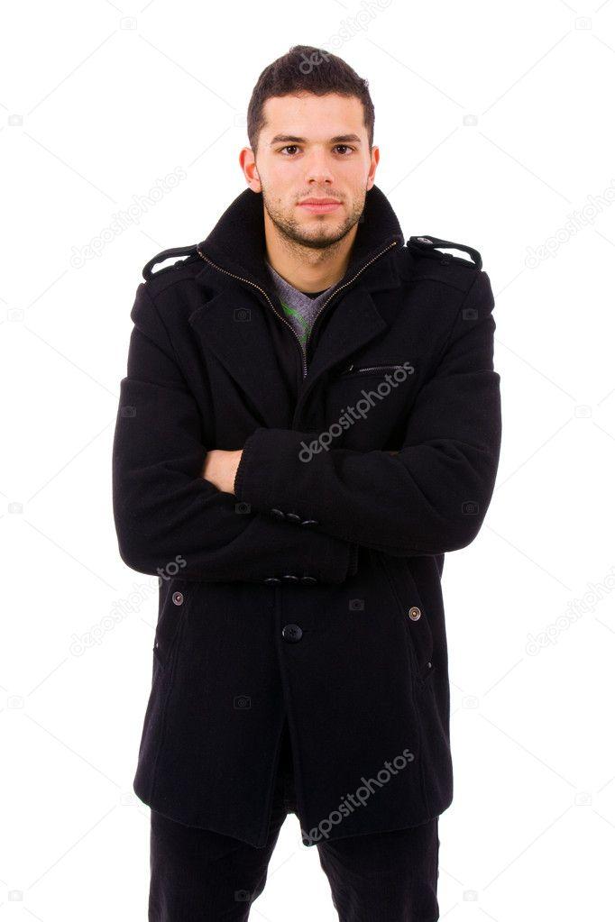 jeune homme d contract habill avec des v tements d 39 hiver photographie cristovao 4116051. Black Bedroom Furniture Sets. Home Design Ideas