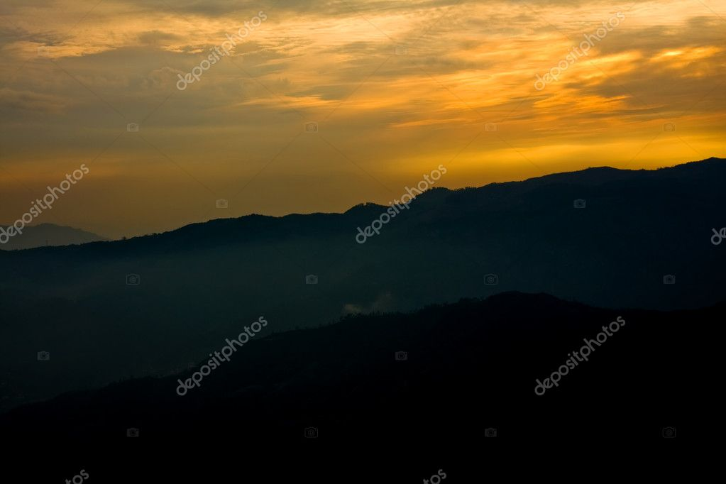 Mountains of Geres national park at sunset, north of Portugal