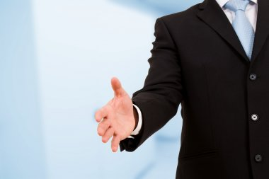 A businessman with an open hand