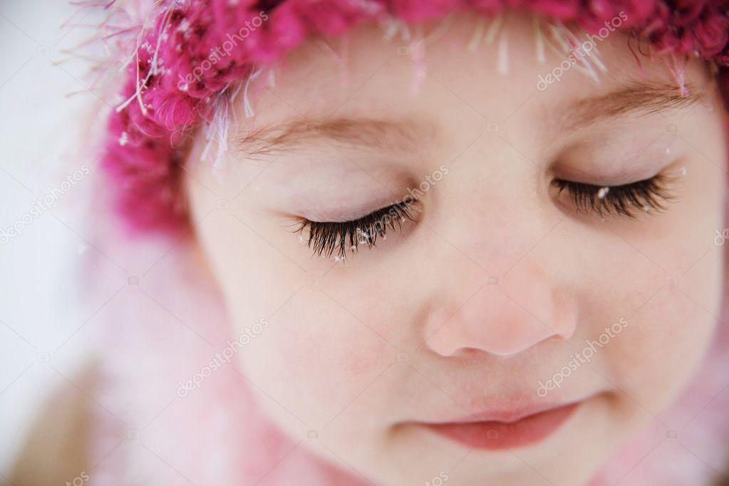 Snowflakes on eyelashes
