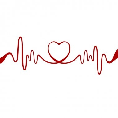 Heart and ecg from red ribbon stock vector