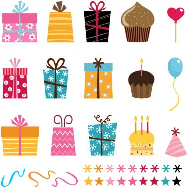 Gift set and other birthday and party elements clip art vector