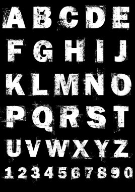 Grunge full alphabet and numbers