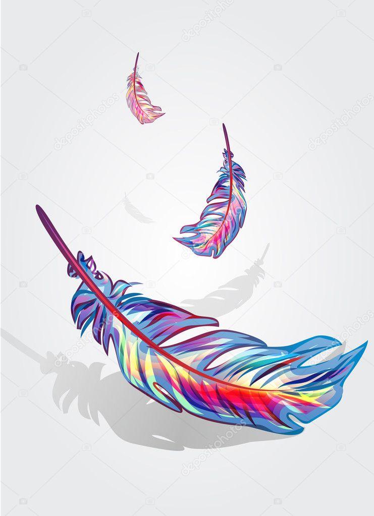 Beautiful falling feathers