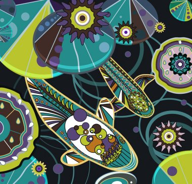 Abstract illustration with fishes