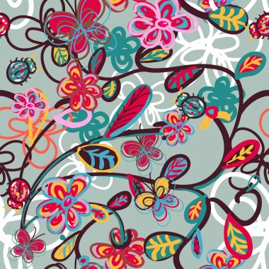 Abstract floral background with ladybird