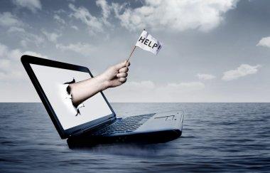 Laptop at sea