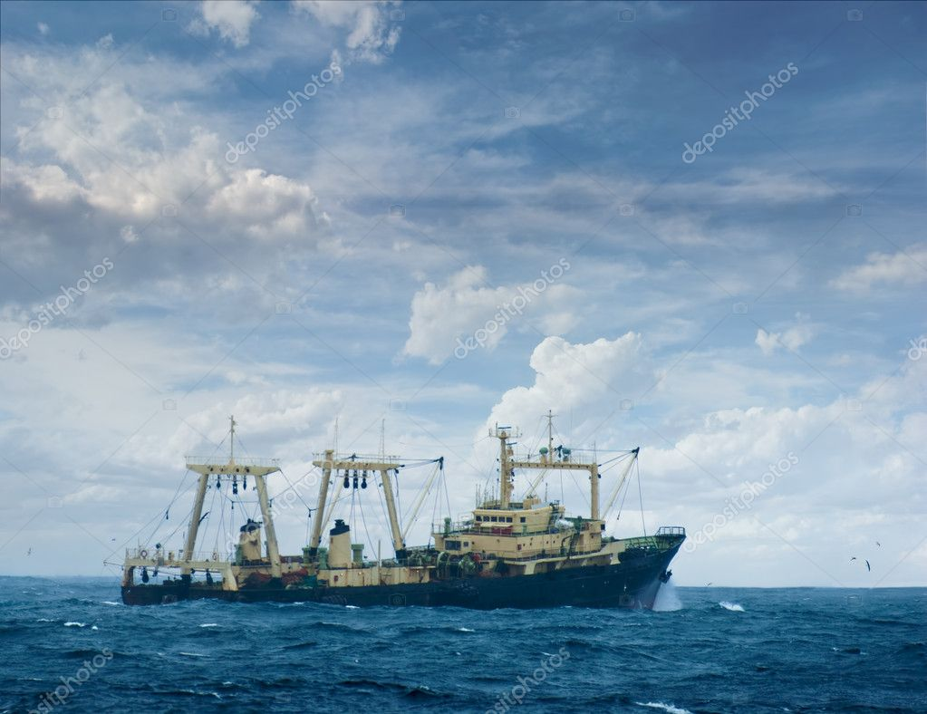 The fishing boat struggles for a life in a storm