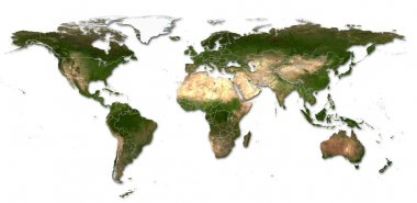 Hi detail real world map with territorial countries fragmentatio