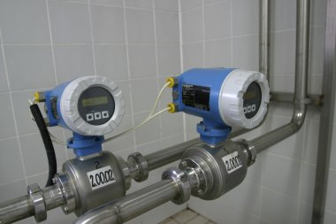 Temperature control valves in dairy production factory