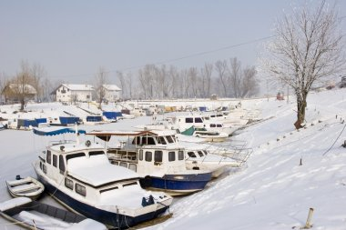 Old boats in frozen marina