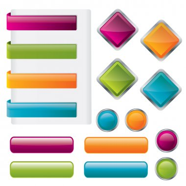 Modern glossy button set in different shapes - vector