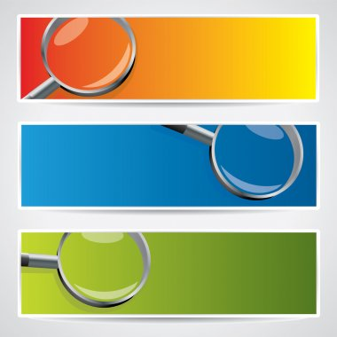Vector banner set with magnifiers