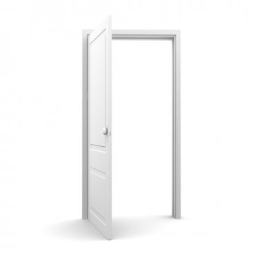 Isolated white opened door