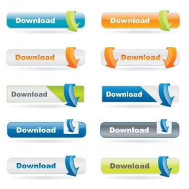 Vector download button set