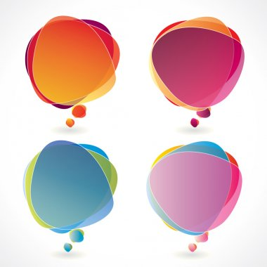 Colorful speech bubble set with transparency