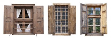 Windows from old houses isolated over white stock vector