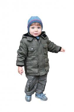 A boy is in a jacket