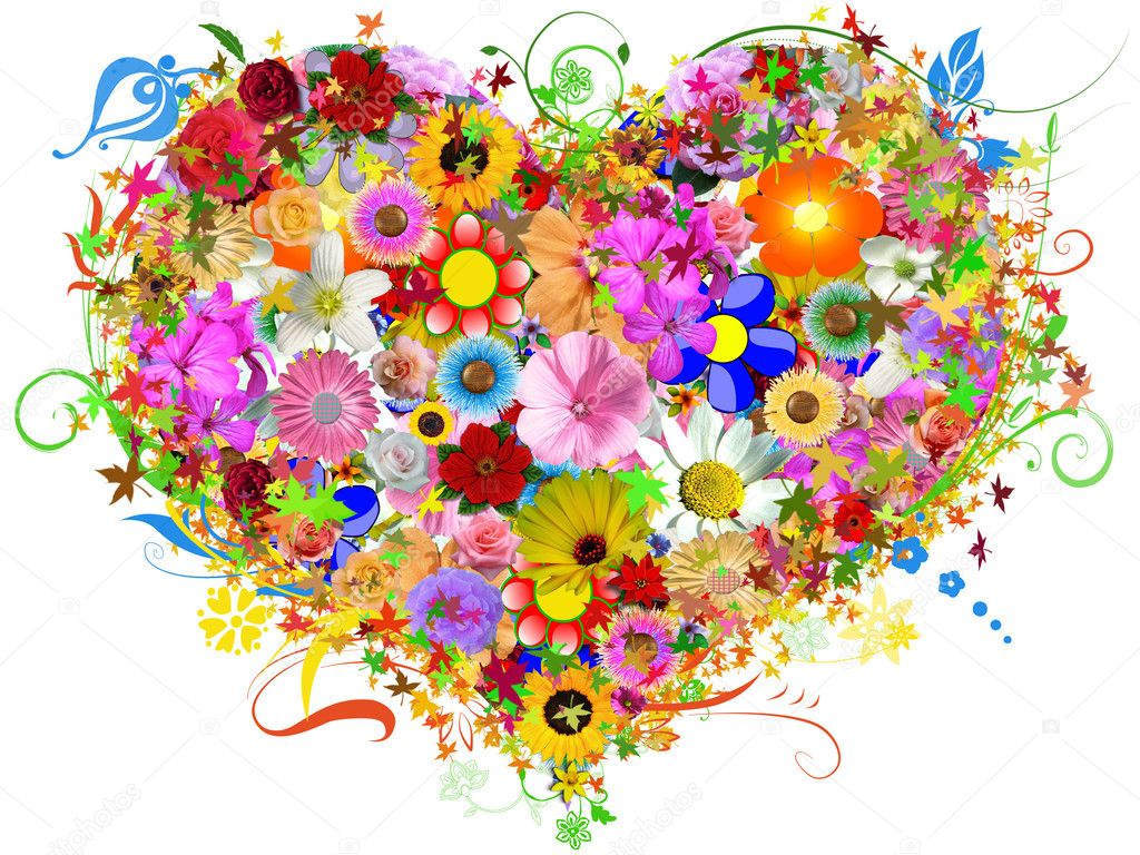 floral heart shape  stock photo © alinbrotea, Beautiful flower