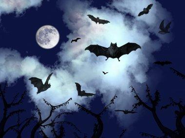 Bats flying in the dark sky