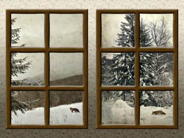 A winter view through a wood rustic window
