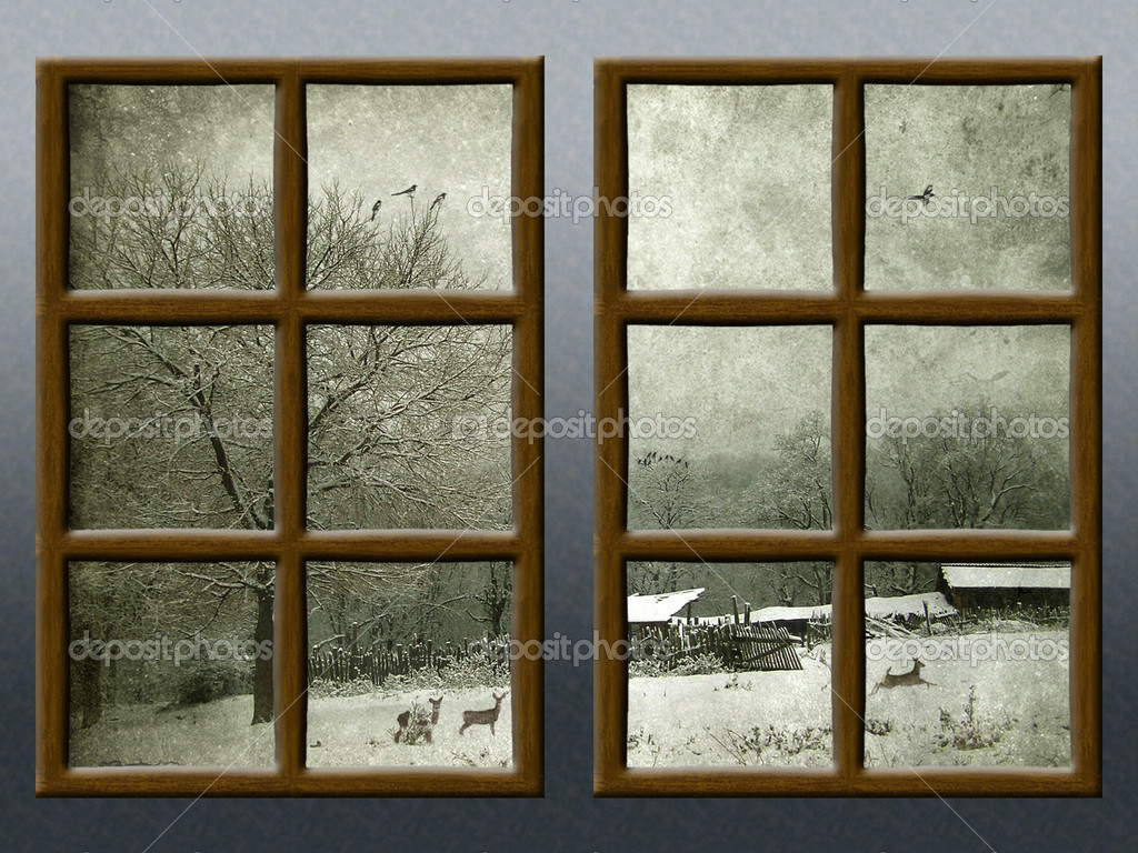 A Winter View Through A Wood Rustic Window Stock Photo