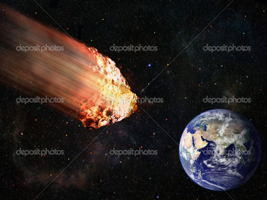 flaming asteroid hitting the earth -#main