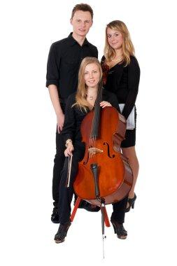 Classic music trio on white background