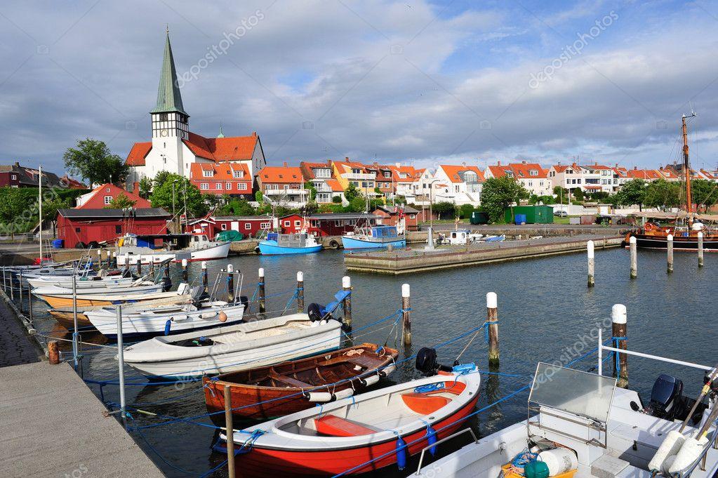 Marina and white church in Ronne, Bornholm, Denmark